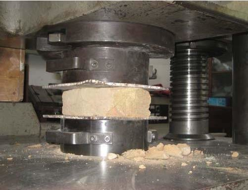 Compression strength test of bricks